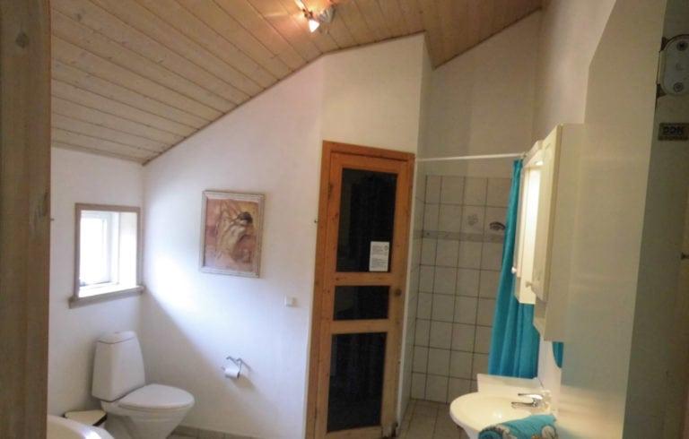 Stort aktivitetshus Marielyst, badeværelse med træ loft